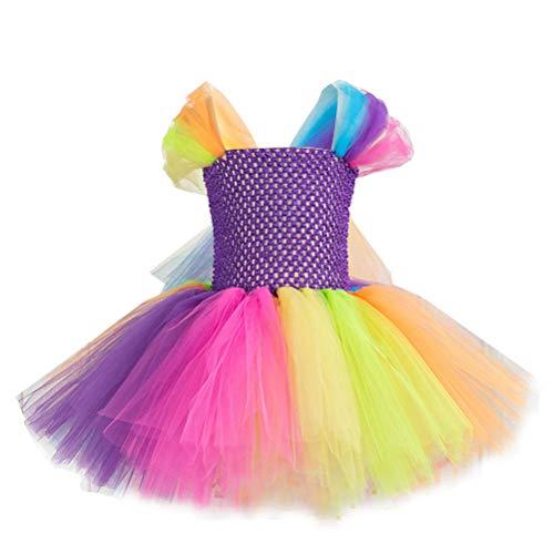 ARAUS Bambina Abito Colorato da Principessa in Tulle Bimba Vestito Elegante Neonata Abito da Sera a Manica Corta Tutu per Spettacolo