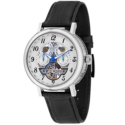 EarnShaw Men's Beaufort 43mm Black Leather Band Automatic Watch ES-8083-01