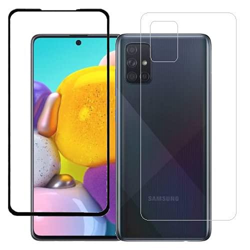 ECMERED® Gloss Finish Samsung Galaxy A71 Back Screenguard (Transparent) and Screen Protector (Black).