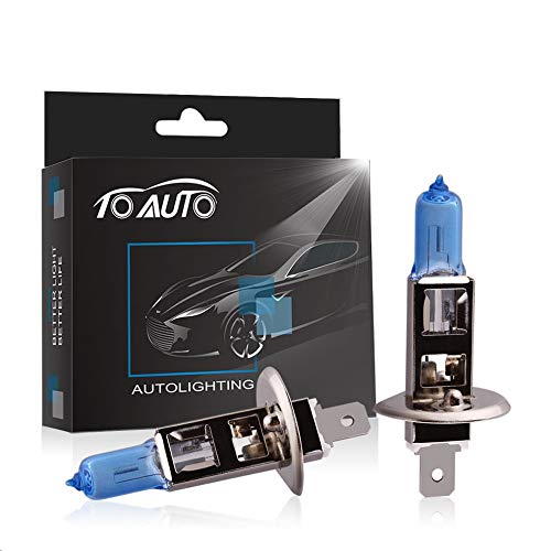 TOAUTO 2 X H1 55W 12V Car Headlight Lamp Halogen Light Super Bright Fog Xenon Bulb White DRL