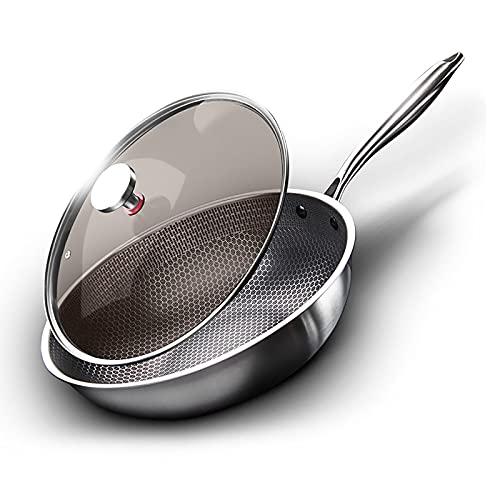 hyywmgx Wok de acero inoxidable de 32 cm, antiadherente para placa de gas de inducción, sartén de panal, antiarañazos, apta para horno