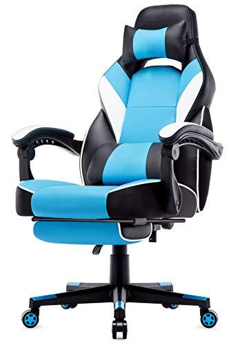 IntimaTe WM Heart Racing Stuhl mit Hoher Rückenlehne, Ergonomischer Gaming Stuhl, Bürostuhl aus Kunstleder (Blue)