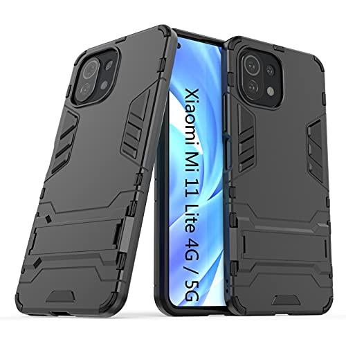 LXHGrowH Funda Xiaomi Mi 11 Lite, Fundas 2in1 Dual Layer Anti-Shock 360° Full Body Protección TPU Silicona Gel Bumper y Duro PC Armadura con Soporte Carcasa para Xiaomi Mi 11 Lite 4G / 5G, Neg