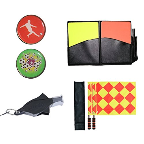 Firelong Set aus Flaggen und Karten für Fußball, rote Karte, gelbe Karte, für Fußballspiel, Stiftehalter, Pfeife und Münze, Schiedsrichter-Set, 5-in-1