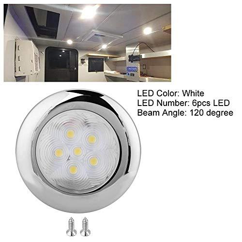 Duokon - Lámpara de techo para barco, 6 ledes, 12 V CC, acero inoxidable, color blanco