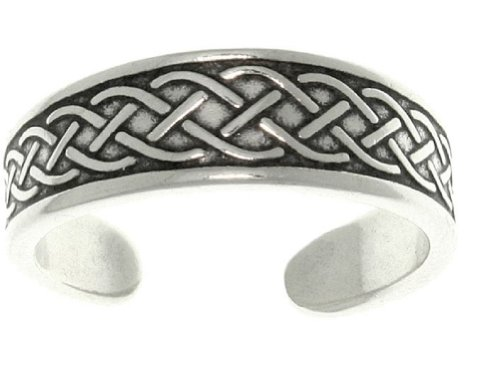 Jewelry Trends Celtic Irish Weaved Braided Sterling Silver Toe Ring Adjustable-Size