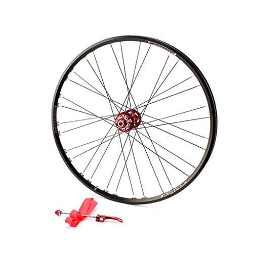 LDDLDG Juego Ruedas Bicicleta 26 Rueda Montaña Pulgadas Juego de Ruedas Freno de Disco Delantero montaña de la aleación de Disco de Doble Pared (Color : Red hub)