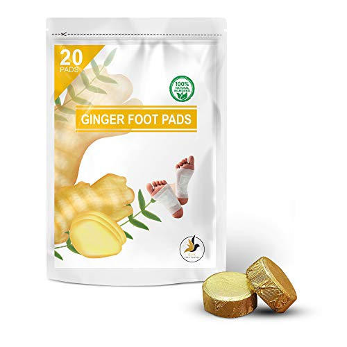 Ginger Foot Pads 20 PCS + Bonus Ginger Bath Soak Tablets 2 PCS | Ginger Foot Patch | Sleeping Pad | Better Sleep Patch | Pure Natural Ginger Powder and Bamboo Vinegar Premium Ingredients Feet Pads