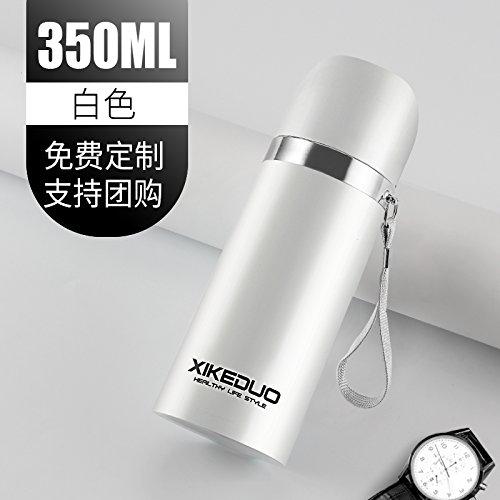 SHULING Edelstahl Isolierflasche Im Freien Wasser Schüssel Kinder AE Tasse Großen Wasserkocher, 350Ml, Weiß