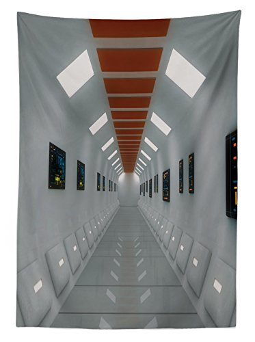 "Lunarable Futuristic Outdoor Tablecloth, Space Station UFO Futuristic Hallway with High Technology Laboratory Photo Artwork, Decorative Washable Picnic Table Cloth, 58"" X 84"", White"