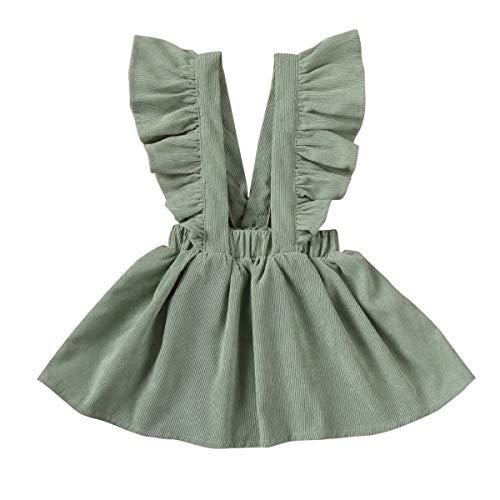 lheaio Vestido infantil infantil com alças e saia tutu com babados e suspensórios, vestido de verão, Verde claro, 5-6 anos