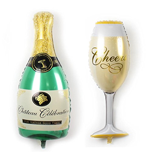 ballonfritz® Luftballon-Set Champagner Sekt Flasche und Glas - XXL Folienballon als Hochzeit Deko, Begrüßung, Party Geschenk, Fotorequisite oder Sektempfang-Überraschung