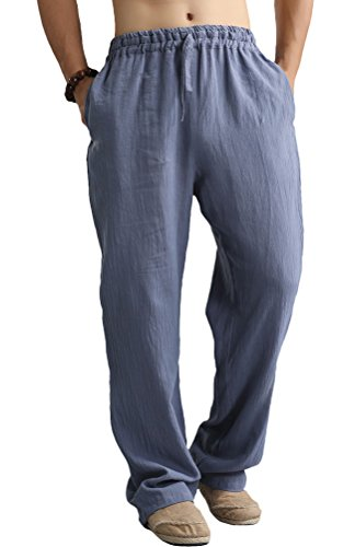 Voguees Men's Casual Drawstring Waist Pants L Blue