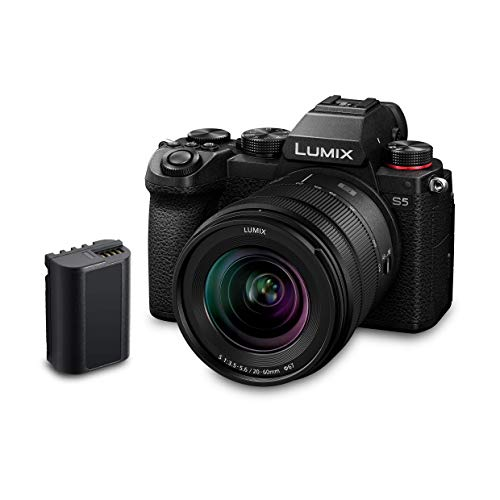 Panasonic LUMIX DC-S5 S5 Full Frame Mirrorless Camera body, 4K 60P Video Recording with Flip Screen and Wi-Fi, 20-60 mm Lens, 5-Axis Dual I.S, (Black), Plus Additional Battery Pack [Amazon Exclusive]