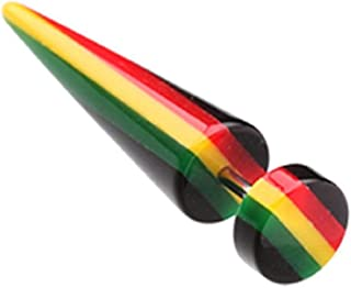 Covet Jewelry Rasta Jamaican Stripe UV Acrylic Fake Taper