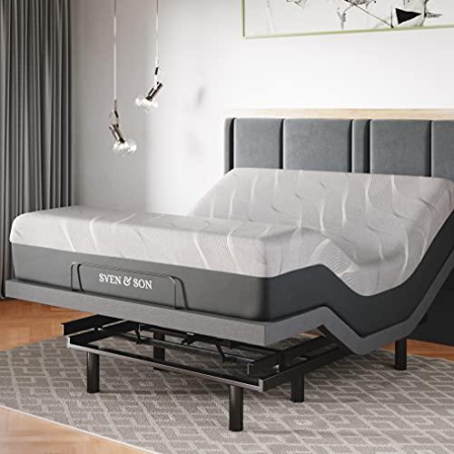"Sven & Son Queen Adjustable Bed Base Frame + 14"" Luxury Cool Gel Memory Foam Hybrid Mattress, Head Up Foot Up, USB Ports, Zero Gravity, Interactive Dual Massage, Wireless, Classic (Queen)"