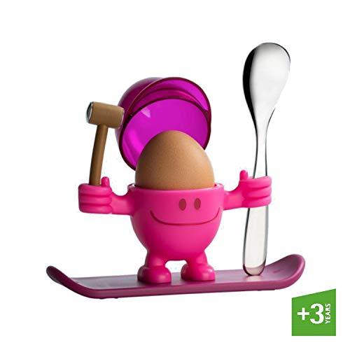 WMF McEgg Eierbecher, mit Löffel, Kunststoff, Cromargan Edelstahl poliert, spülmaschinengeeignet, H 11 cm, pink