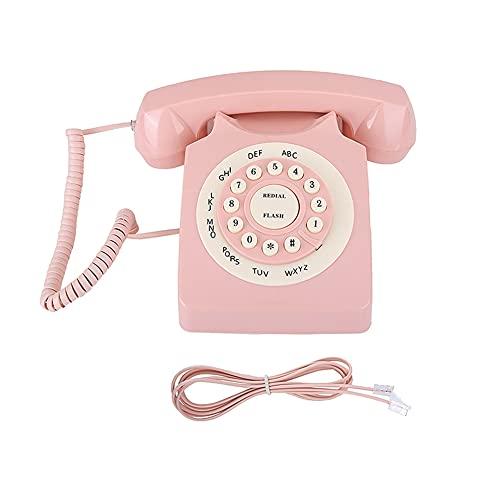 Runtodo Teléfono Retro 80 Teléfono/Teléfono fijo/Casa/Hotel Teléfono con cable Estilo Europeo Teléfono Rosa