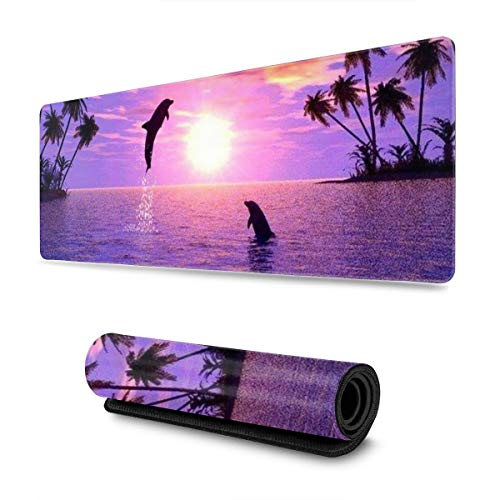 Beautiful Purple Dolphin Tropical Beach XL Extended Gaming Mouse Pad Large Mousepad with Stitched Edges, Keyboard Pads Mat for Gamer Computer Office Home 31.5x11.8 in