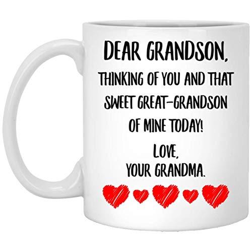 N\A Mensaje del día del Padre de la Abuela Pensando en ti y en Ese Dulce bisnieto mío de Hoy Taza de café con Leche de 11 oz
