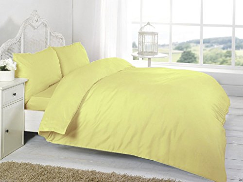 AmigoZone Plain Duvert Cover Set Non Iron Percal Quilt Cover With Pillow Cases Double - Lemon