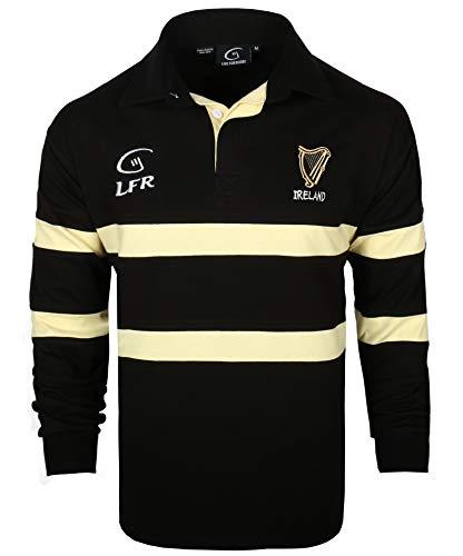 Camiseta de rugby de manga larga, color negro y crema, de la marca Irlanda Harp (S-XXXL)