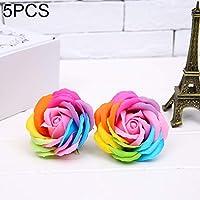 JIALI Fake flowers 装飾された小道具シミュレーションの花5 PCSローズ形のカラフルなソープ花、ランダムな色の配達