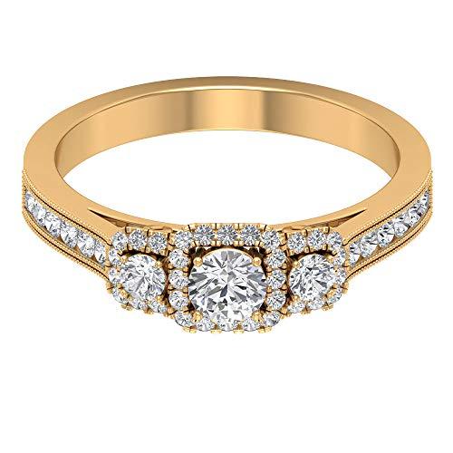 Anillo de compromiso de moissanita certificado de 0,64 ct, anillo de tres piedras, DE-VS1 claridad de color, anillo de oro, anillo de aniversario de boda único, 14K Oro