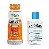 Herbal Clean Same-Day Detox Bundle, QCarbo16 Detox Drink, Orange Flavor, 16 Fl Oz, with pH10Max Alkaline Water Drops, 2 Fl Oz