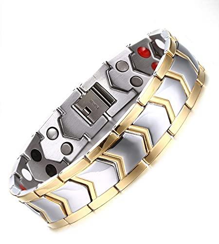 SMEJS Pulsera de joyería Arrow One Direction Oro Plata Dos tonos Magnetita de doble capa Pulsera de eslabones de acero inoxidable Cadena de mano Regalo para hombres