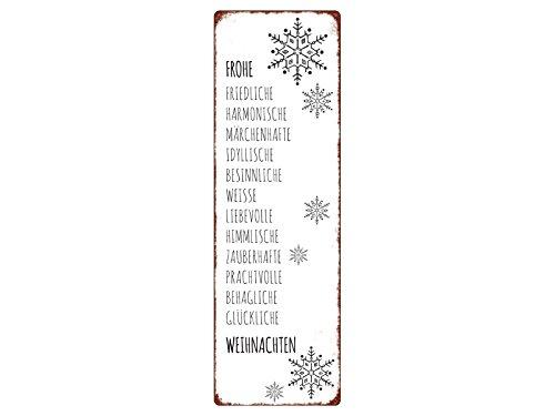 Interluxe METALLSCHILD Blechschild Frohe FRIEDLICHE HARMONISCHE Weihnachten Shabby Spruch