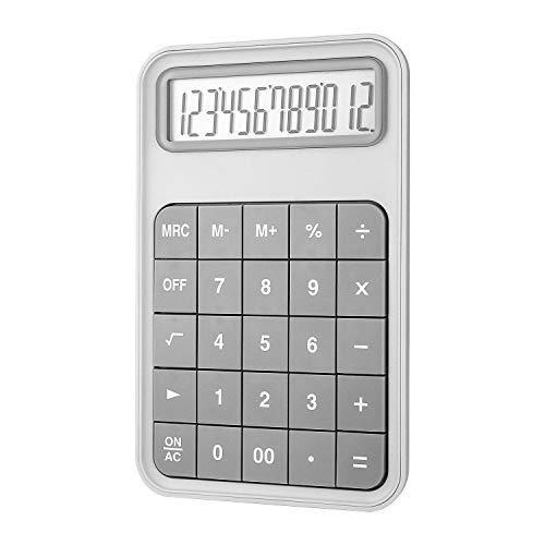 EooCoo Calculadora Sobremesa, Calculadora Básica con Pantalla LCD Grande de 12 dígitos Máquina para Oficina, La familia, Escuela, Mostrador de la tienda - Gris