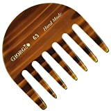 Giorgio G63 2 3/4' Hand Made Tortoiseshell Detangling Comb - Wide Teeth Flexible Comb, Hand-Made of quality Durable Cellulose, Saw-cut and Hand Polished (1 Pack, Tortoiseshell)