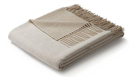 biederlack® weiche Kuschel-Decke Wool-Mix in dunkel- und Hellbeige I aus Wolle und Kaschmir I Öko-Tex Zertifiziert I Plaid in 130x170cm | ideal geeignet als Tagesdecke & Sofa-Decke I top Qualität