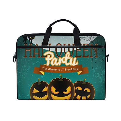 Laptop Sleeve Case,Laptop Bag,Halloween Party Pumpkin Lentern Water Briefcase Messenger Notebook Computer Bag with Shoulder Strap Handle,28.5×38 CM/14 Inch