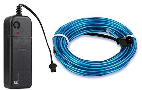 Cable de Luces de Neón EL,, caja de batería de 3 V, línea luminosa de cuatro funciones, traje de 5 m, luz de ambiente de decoración...