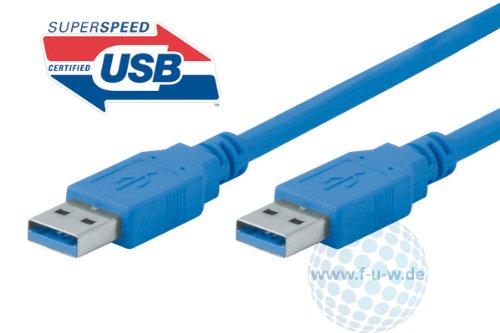 Tecline 0,5m USB A 0,5m USB A USB A blau Kabel USB–Kabel USB (0,5m, 3.0(3.1Gen 1), USB A, USB A, männlich/männlich, Blau)