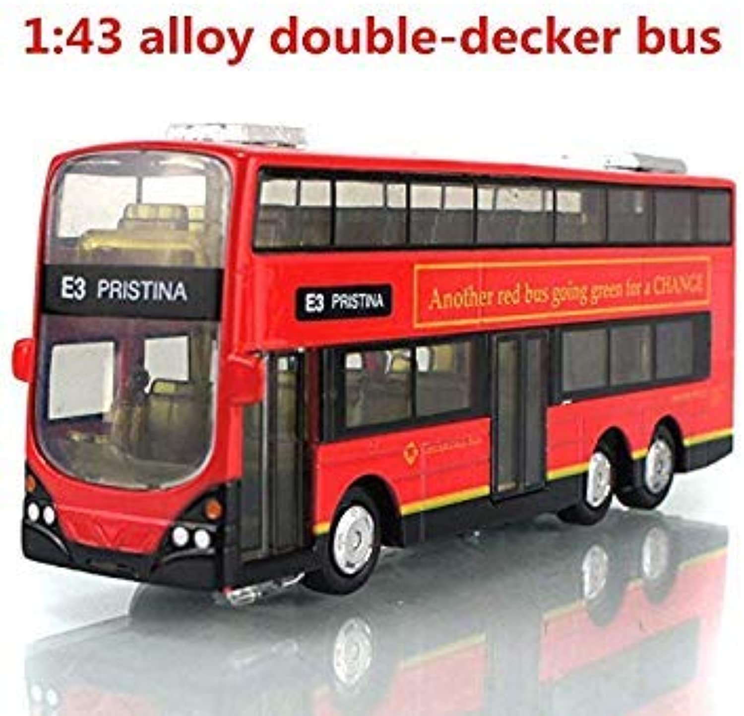 1 43 Alloy DoubleDecker Bus, City Bus high Simulation Model, Metal diecasts, Pull Back & Flashing & Musical