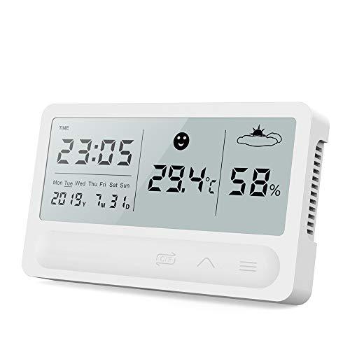 TopHGC Termómetro higrómetro LCD Digital para Interiores, Temperatura precisa Monitor de Humedad Estación de Reloj meteorológico táctil con Pantalla de Fecha/Hora Reloj Despertador Carga USB