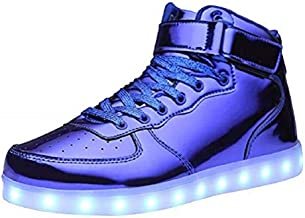 MOHEM ShinyNight High Top LED Shoes Light Up USB Charging Flashing Sneakers(1687003ShiningBlue36)