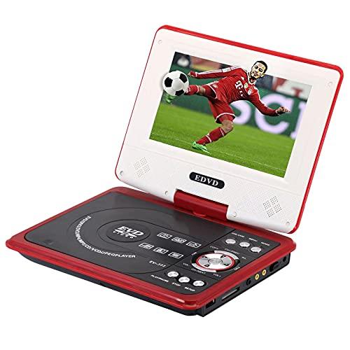 YICHEN Reproductor De DVD Portátil, Reproductor De DVD De 7.5 '' para Niños/Ancianos, con Pantalla Giratoria Admite Tarjeta SD USB/AV IN/out, Región Libre (Rojo)