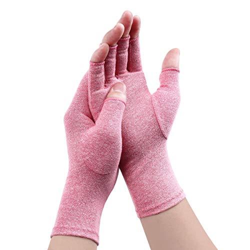 Digitek Arthritis Handschuhe - Kompression Rheumatoide Handschuhe Fingerlos Zur Schmerzlinderung handschuh Rehabilitation Schmerzen lindern Tägliche Arbeit Für Männer Frauen (Pink, Medium)