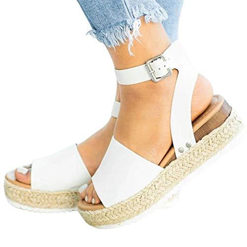 YSYOkow Zapatos de plataforma para mujer, puntera abierta, bohemia, sandalias de tejido, correa de tobillo, hebilla y cuñas