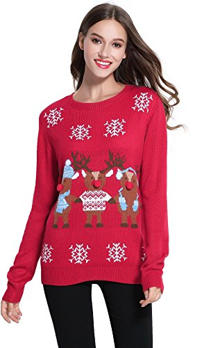 daisysboutique Women's Christmas Cute Reindeer Knitted Sweater Girl Pullover (Small, Friends)