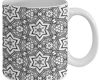 Taza de café con diseño de mandala, para adultos, color me, taza de café, diseño de mandala, color me, 59