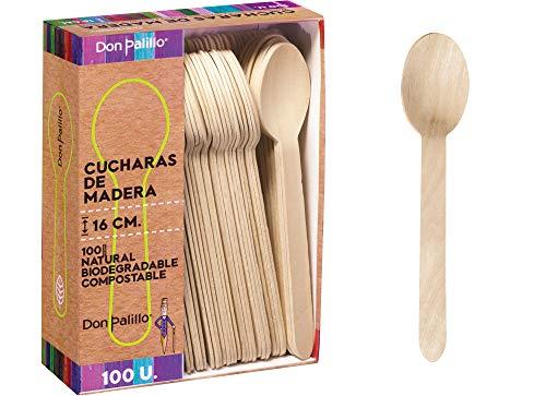 Don Palillo - Juego de 100 Cucharas Desechables de Madera, 16 cm. 100% Natural, Ecológico, Biodegradable