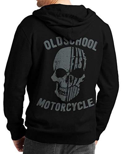 Rebel on Wheels Herren Zip Hoodie Sweat-Jacke mit Kapuze Kapuzen-Jacke Winter mit Motiv Bedruckt Totenkopf Skull Biker Motorrad Oldschool Skull Schwarz XL