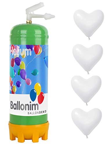 41BUnIaK3qL - Ballonim Einweg Ballongas Helium Flasche mit 30 rote Herzen Ø 30cm, 0,22m³ (weiß)