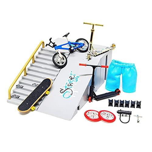9 Stück Skate Park Kit Fingerboard, Mini Finger Skateboard Und Rampe Für Fingerboard Handlauf Ultimative Sporttraining Requisiten Spiele Fingerspielzeug Set Geschenk
