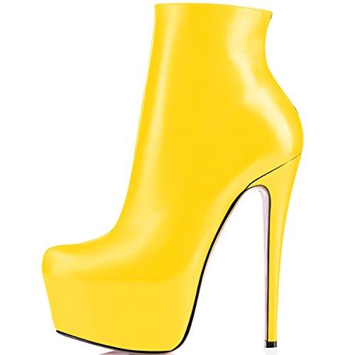 ELASHE Mujer Botas Tacón Plataformas Cuero Muslo Bomba Botas Zapatos Amarillo EU35